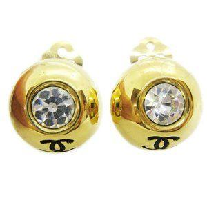CHANEL CC Logos Button Motif Rhinestone Earrings C